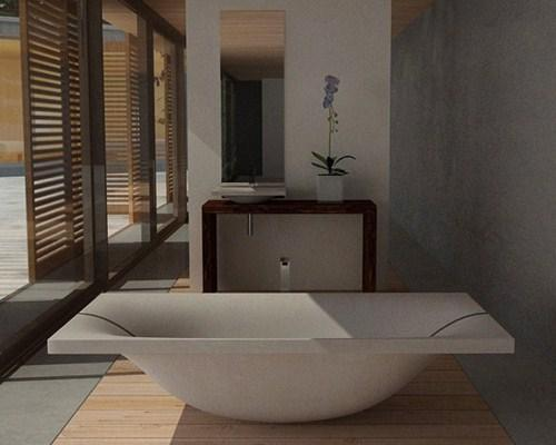 Concrete baths and Dade Design company sinks.